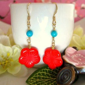 Red cherry blossom turquoise gold drop earrings